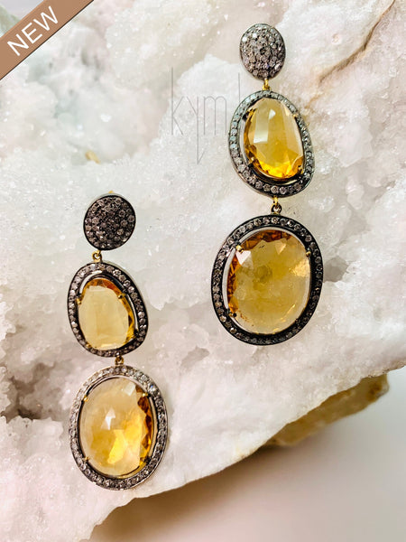 Citrine Double Drop Earrings Pave Diamond Cluster Top