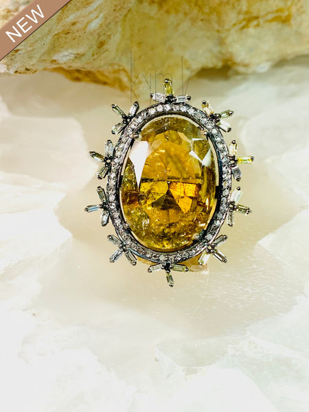 Clean Citrine Ring with Black Diamond Bezel