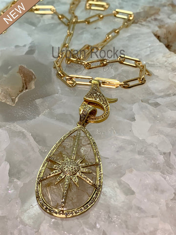 Crystal Quartz and Diamond Gold Pendant