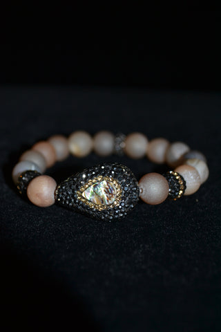 Single Abalone Freshwater Baroque Pearl Nude Matted Druzy Bracelet