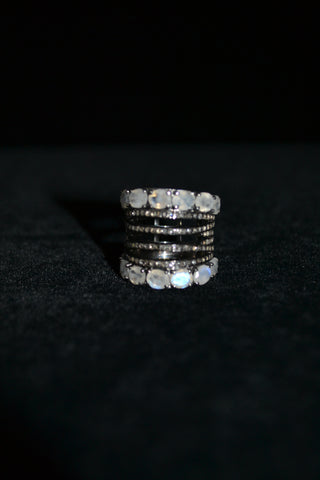Black Diamond Band With Moonstone