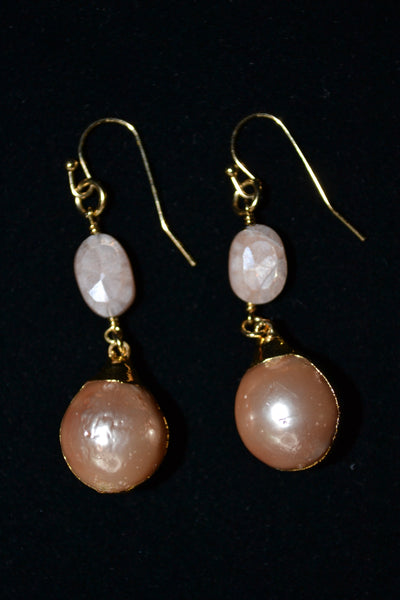 Pink Moonstone and Pink Pear 2 Drop earrings