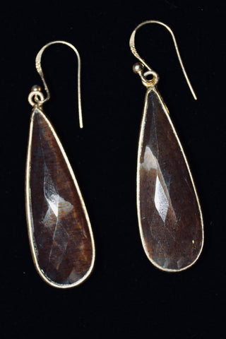Copper Sapphire Drop Earrings