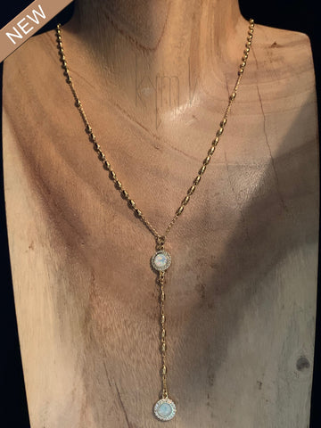 Double Opal Light Lariat Style Necklace