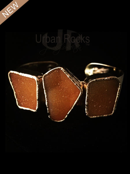 Druzy Sunset Red Metric Shaped Cuff Vermeil Bracelet