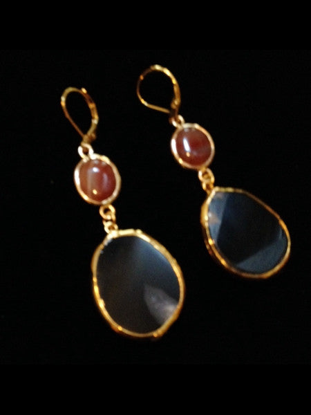 Black Onyx and Jasper Earrings