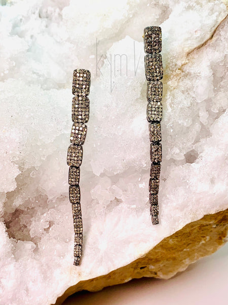 Exquisite11 Square Pave Diamond Drop Earrings