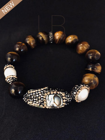 Tigers Eye Abalone and Fresh Water Baroque Pearl Bracelet