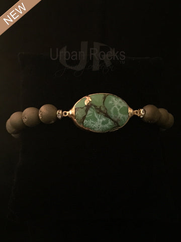 Gold Druzy Beaded Bracelet with Gemstone Charm