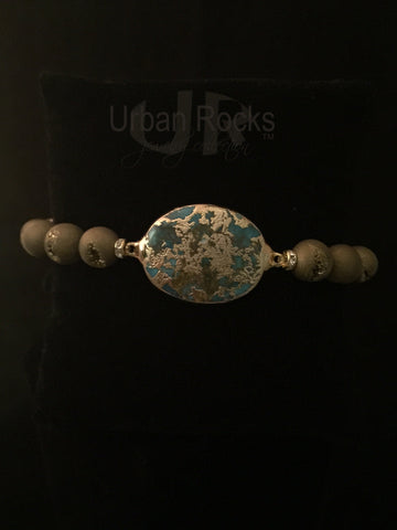 Gold Druzy with Gemstones Bracelet