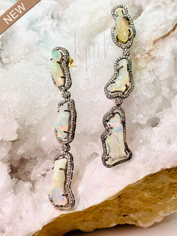 Opal and Diamond Dangle Earrings SOLD OUT