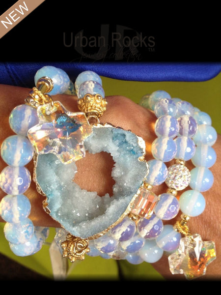 Beautifully Designed Opalite and Moonstone Charm Bracelets