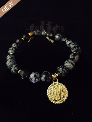 Gray Black Onyx Love Bracelet