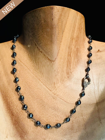 Hematite Necklace with Black Diamond Closing