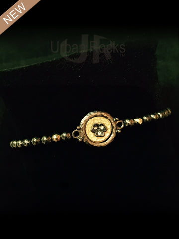 Hematite and Pyrite Tiny Round Bezel Bracelet