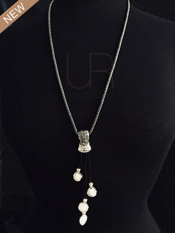 Hematite and Flat Pearl Necklace