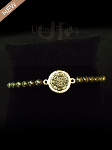 Hematite Bezel and Tiny Pyrite Bracelet