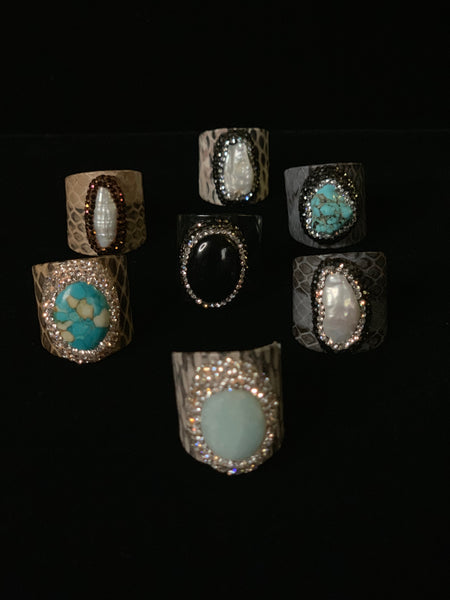 Snake Skin Print Gemstone and Pearl Rings