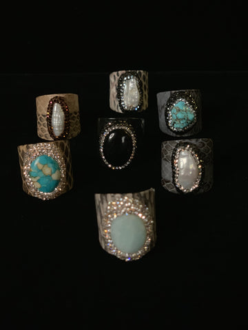 On Sale Snake Skin Print Gemstone and Pearl Rings