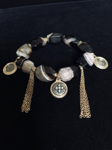 Natural Quartz Charm Bracelets With Tassels