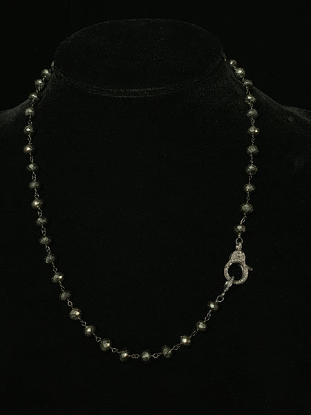 Pyrite Wire Wrap Black Diamond Clasp Necklace