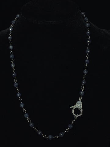 Blue Sapphire Wire Wrapped Black Diamond Clasp Necklace