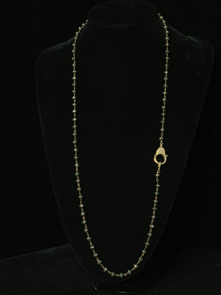 Pyrite with Gold Wire and Gold Pave Diamond Clasp
