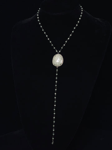 Rosary Sapphire With Diamond Bessel Necklace