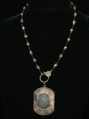 Rose Gold Pyrite Necklace Sterling Silver with Rose Gold Overlay with Pave Black Diamonds