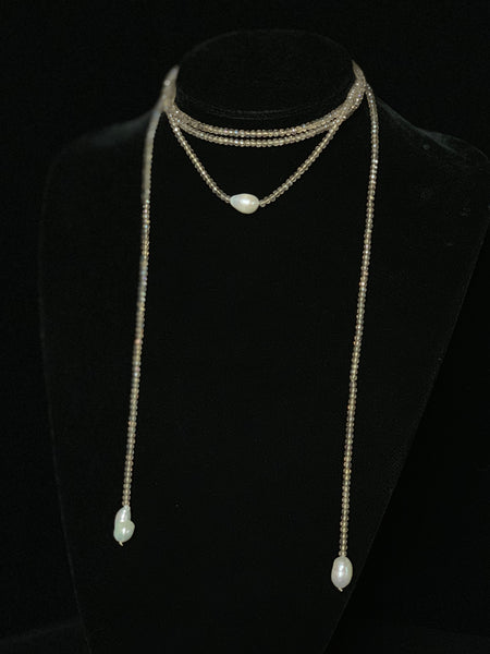 3 Pearl Wrap Necklace in Champagne Crystal