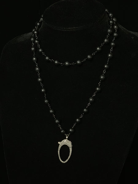Matted Onyx Necklace with Black Diamond Clasp
