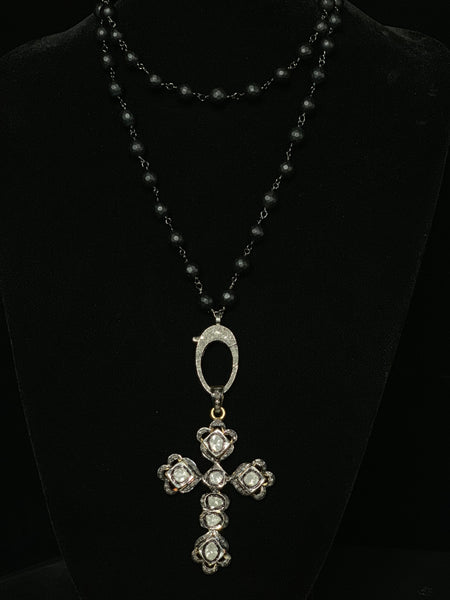 Solid Diamond Cross Pendant