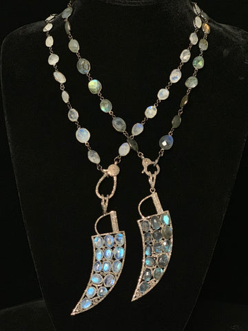 Moonstone and Labradorite With Pave Black Diamond Necklaces