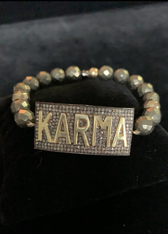 Rhodium dip Black Pave Diamond Karma Bracelet