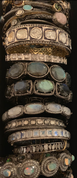 Couture Black Diamond  and Natural Gemstones Bangles