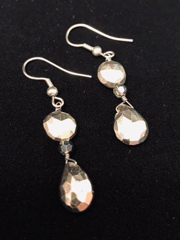 2 Drop Pyrite Earrings