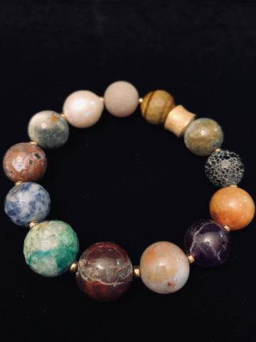 Large Multigemstone Bracelet