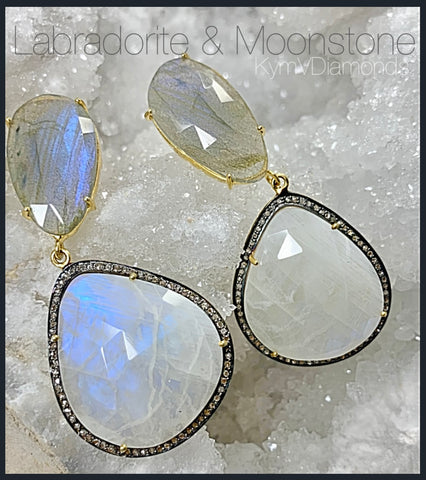 Labradorite and Moonstone Black Diamond Earrings