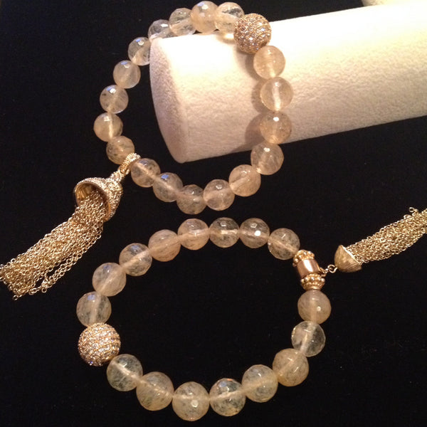 Nude Quartz with Vermeil Tassel