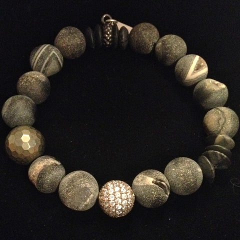 Men's Unpolished Dark Grey Onyx