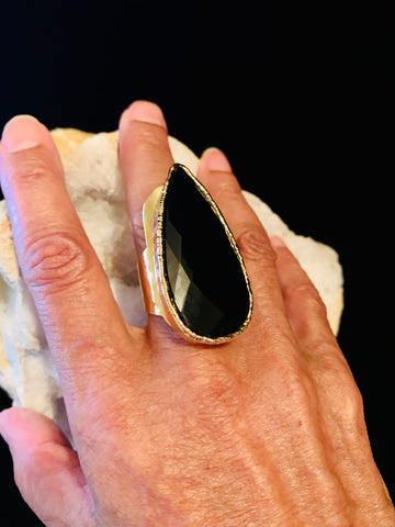 Tear drop Black Onyx Ring