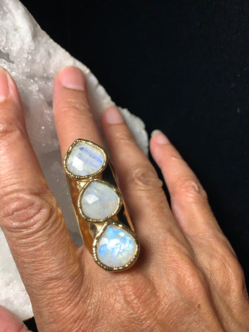 Beautiful 3 Moonstone Ring