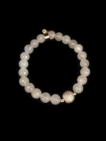 Moonstone with Crystal Ball Bracelet