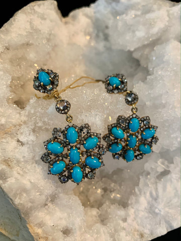 Turquoise Flower Black Diamond Earrings