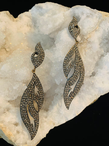 Gorgeous Pave Diamond long Earrings