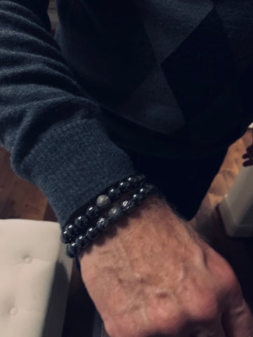 Men's Black Hematite and Black Diamonds Pave Stones
