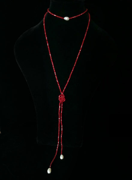 Red Crystal 3 Pearl Necklace