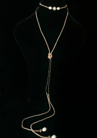 Pyrite And Crystal 5 Pearl Necklace