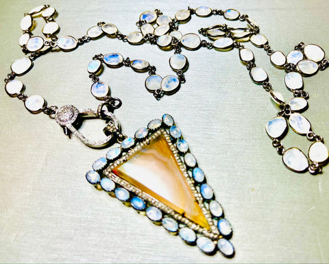 Black Diamond Arrow with Moonstone Necklace