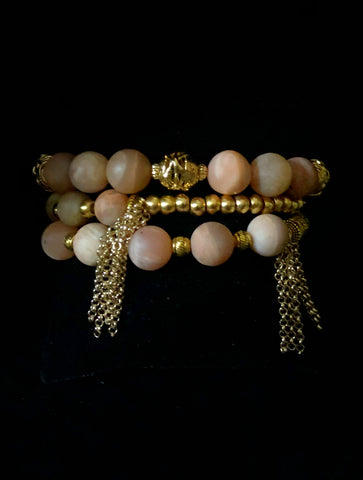 Sunstone And Gold Tassel Bracelet